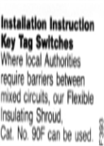 General Instructions - Key Tag Switch Installation Note - F393