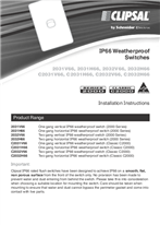 Installation Instructions - F1315/05 - IP66 Weatherproof Switches, 21089